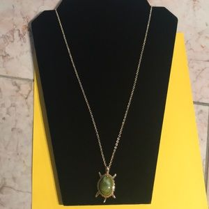 NEW AVON tortoise turtle long gold necklace
